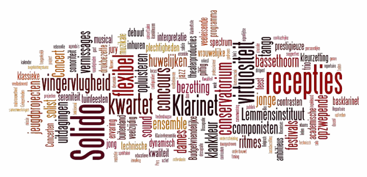 tag cloud: Solido, klarinet, bassethoorn, klarinet ensemble, klarinetkwartet, ensemble, kwartet, recepties, inhuren